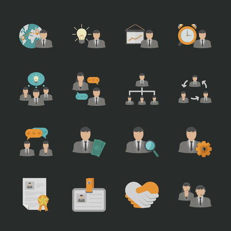 Human resource icons with black background , eps10 vector format Vector