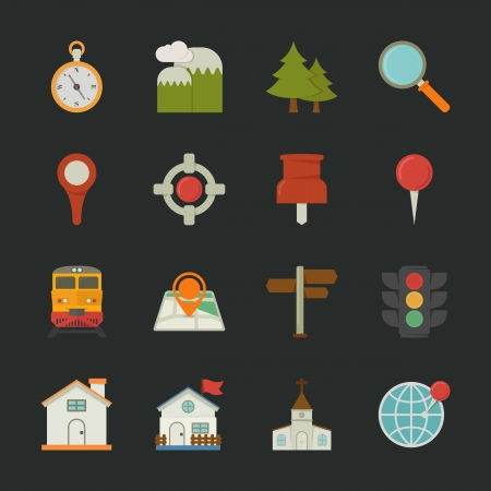 Map icons and location icons , flat design , eps10 vector format Vector