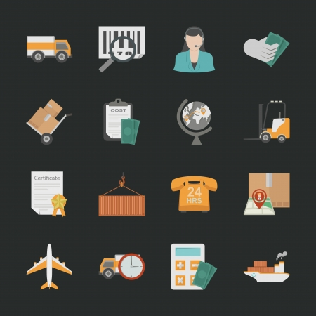 Logistics icons with black background , eps10 vector format Vector
