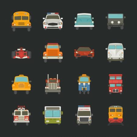 brandweer cartoon: Autopictogrammen, vervoer, eps10 vector-formaat