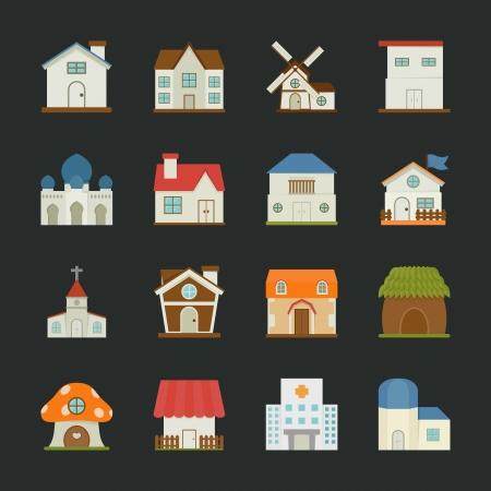 Stad en dorp gebouwen pictogrammen, plat ontwerp, eps10 vector-formaat