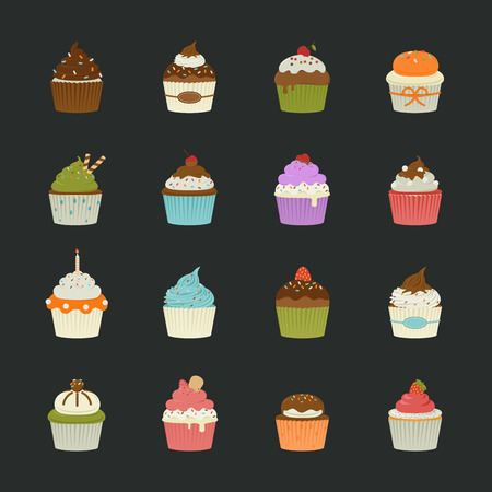 cupcakes isolated: Sweet cupcakes icons , eps10 vector format