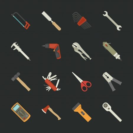 vernier: Hand tools icon set , flat design , eps10 vector format