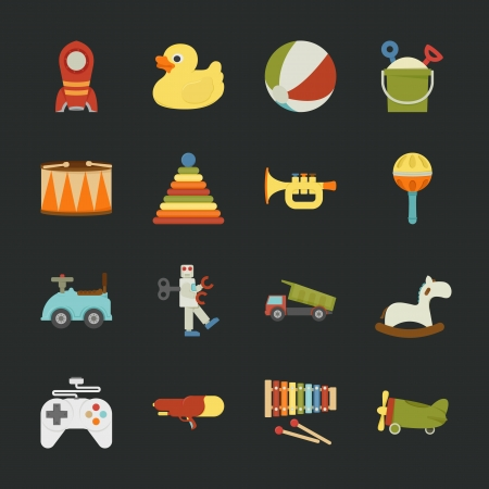 kids toys: Toy icons , flat design , eps10 vector format