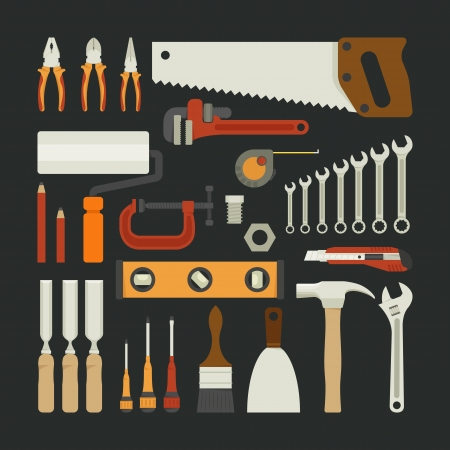Hand tools icon set , flat design , eps10 vector format Vector