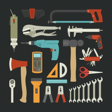 Hand tools icon set , flat design , eps10 vector format Stock Vector - 25517464