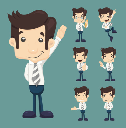 Set of businessman characters poses , eps10 vector format Vector