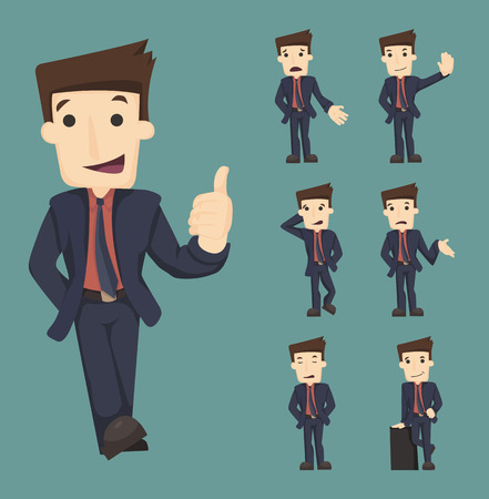 young businessman: Set of businessman characters poses , eps10 vector format Illustration
