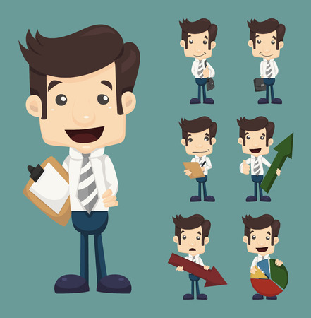 Set of businessman characters poses  with charts , eps10 vector format Illustration
