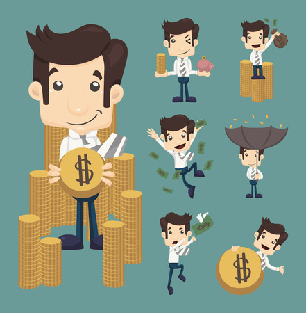 money pound: Set of businessman make money characters poses , eps10 vector format Illustration