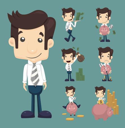 Set of businessman make money characters poses , eps10 vector format Ilustração