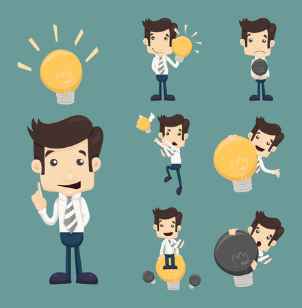 Set of businessman characters make idea , eps10 vector format