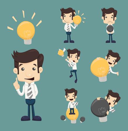 Set of businessman characters make idea , eps10 vector format