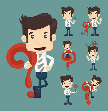 Set of businessman characters poses with question marks , eps10 vector format Illustration
