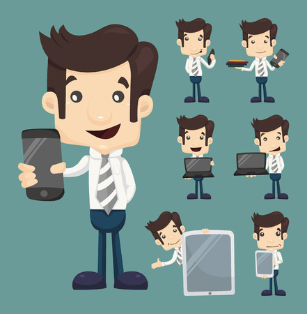 Set of businessman show tablet and smart phone characters poses , eps10 vector format