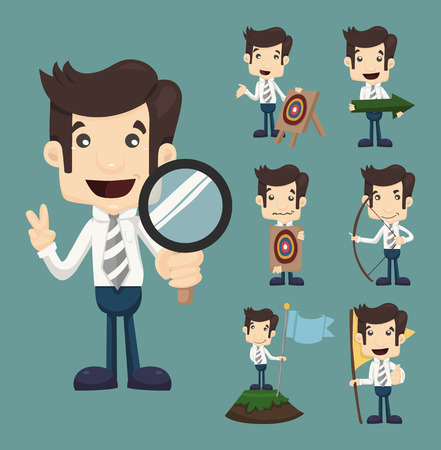 executive search: Set of businessman aimming target characters poses , eps10 vector format