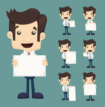 Set of businessman holding blank notes characters poses , eps10 vector format Vector