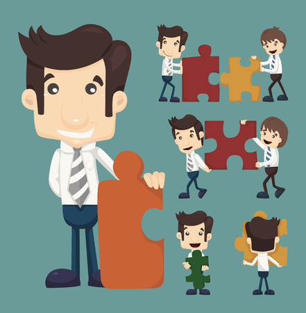Set of businessman holding up jigsaw puzzle pieces as a solution to a problem , eps10 vector format