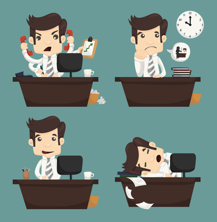 Set of businessman sitting on desk , office worker , eps10 vector format
