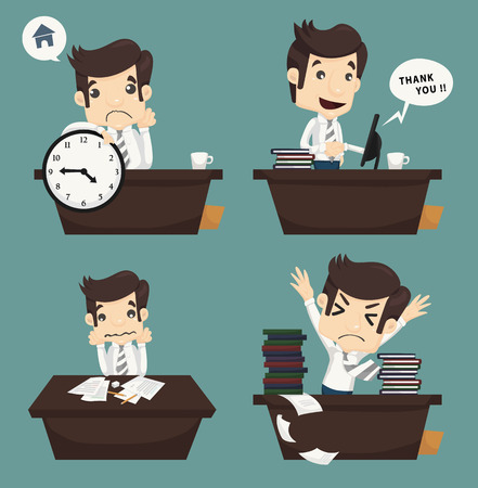 Set of businessman sitting on desk , office worker , eps10 vector format Vector