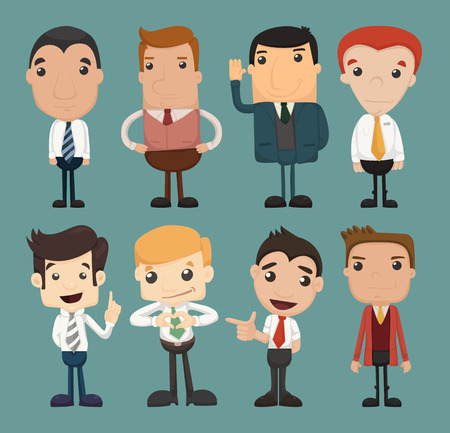 personnage: Jeu de caractères homme d'affaires pose, employé de bureau, format eps10
