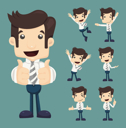 Set of businessman characters poses , eps10 vector format Vectores