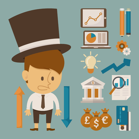 Businessman and tool character , flat design , eps10 vector format Vector