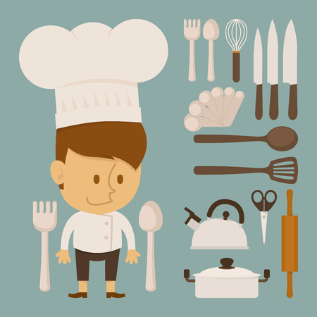 Chef and tool character , flat design , eps10 vector format Vector