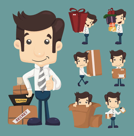 moving office: Set of businessman moving office and packing in boxes characters poses  Illustration