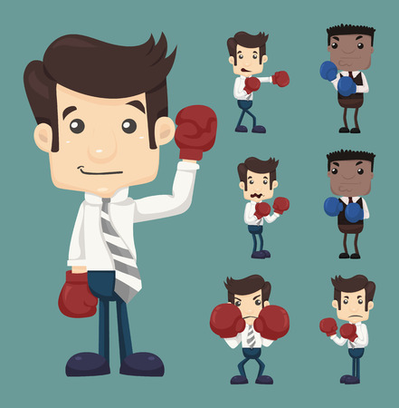 Set of businessman fight with boxing gloves characters poses Illustration