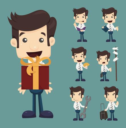 Set of businessman characters poses  Ilustração