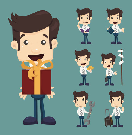 Set of businessman characters poses  Vector