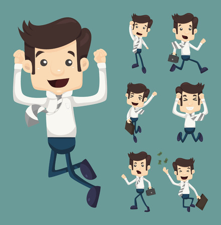 set of businessman: Set of businessman leaping characters poses