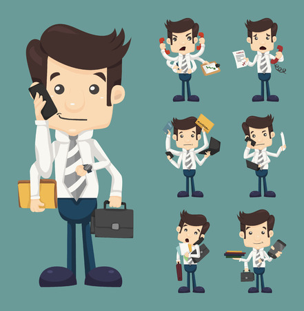 Set of businessman with many hands in elegant suit  Vector