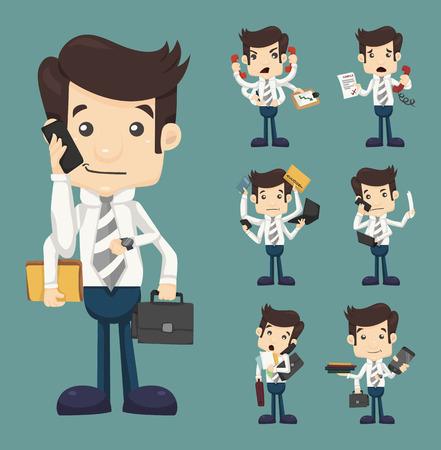 communication cartoon: Set of businessman with many hands in elegant suit  Illustration