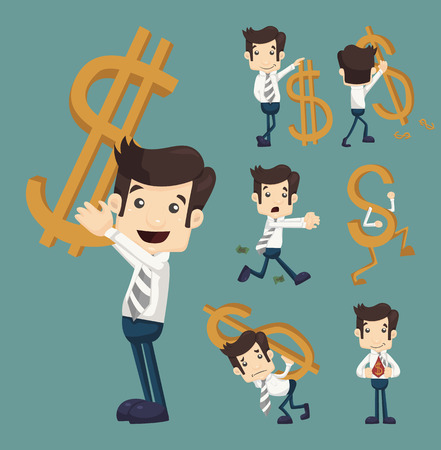 Set of businessman with dollar sign characters poses  Vector