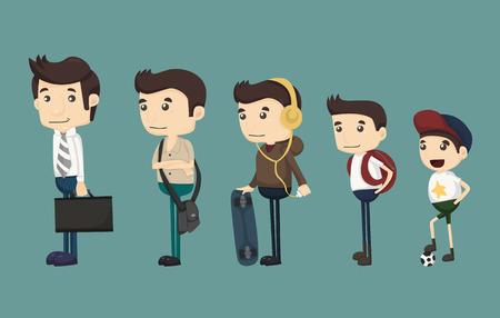 evolución del hombre desde niño Ilustración de vector