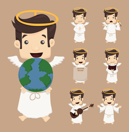 male angel: Set of angel characters poses  Illustration
