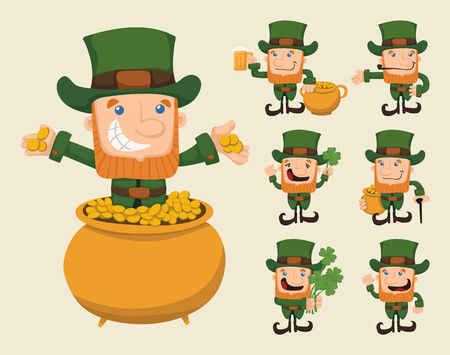 leprechaun hat: Set of leprechaun characters poses