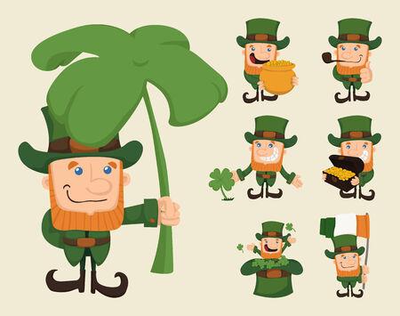 leprechaun: Set of leprechaun characters poses