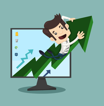 cartoon businessman: Businessman rising arrow with growing  Illustration