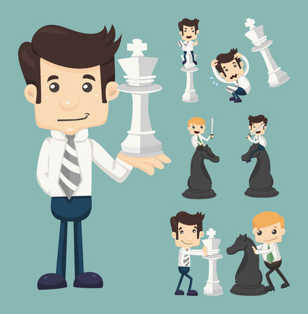 cartoon businessman: Set of businessman fighting, playing chess  Illustration