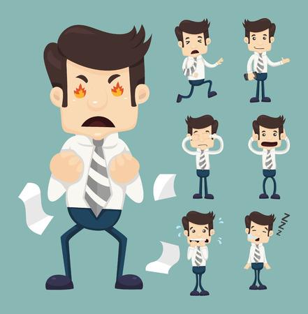 carita feliz caricatura: Conjunto de caracteres de negocios poses Vectores