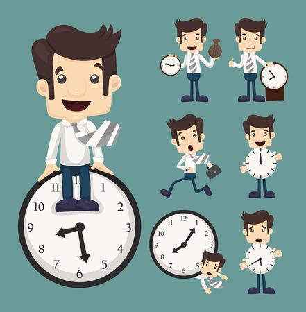 Set of businessman and clock