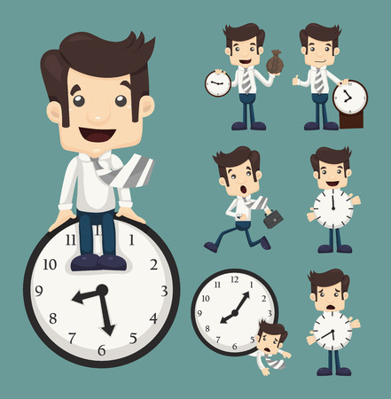 minute: Set of businessman and clock