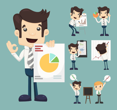 Set of businessman characters presentation graph