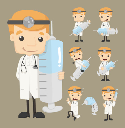 Set of doctor characters poses Vector Illustration