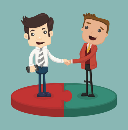 many people: Businessman shaking hand  Illustration