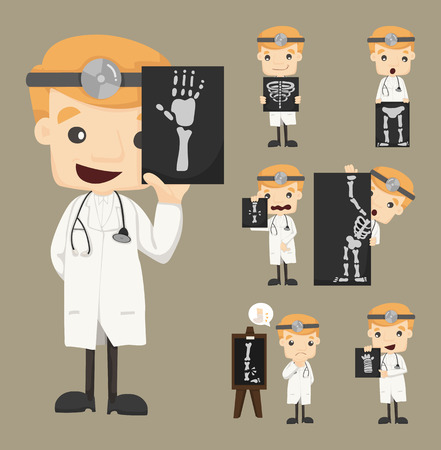 Zestaw znaków lekarz z x-ray, USG Ilustracja