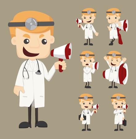 loud speaker: Set of doctor with loud speaker